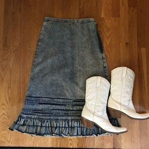 Vintage Acid Wash Ruffle Skirt